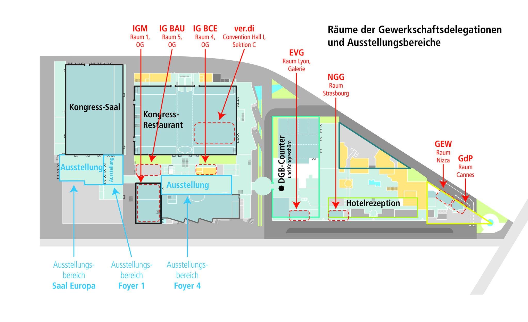 Delegationsräume und Ausstellerbereiche; Skizze Estrel Berlin;